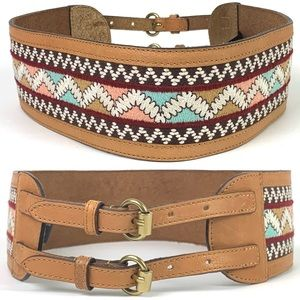 Anthropologie Embroidered Aztec Zephyr Corset Belt